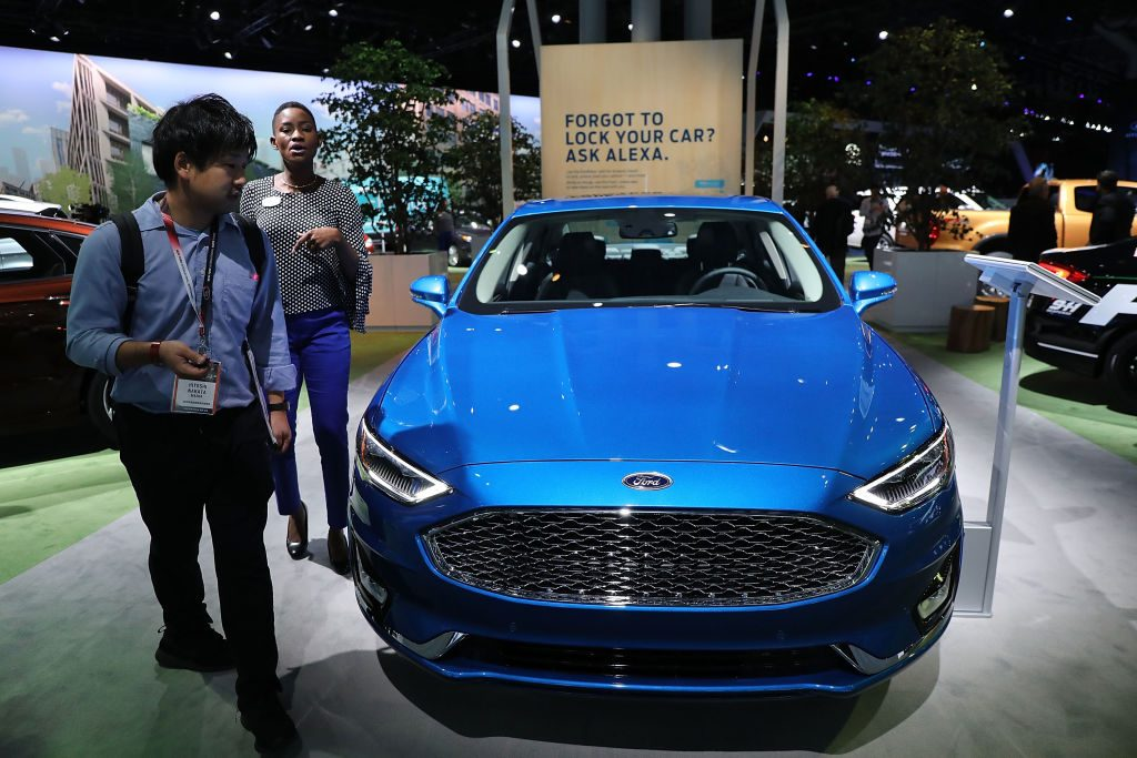 The new Ford Fusion is displayed at the New York International Auto Show