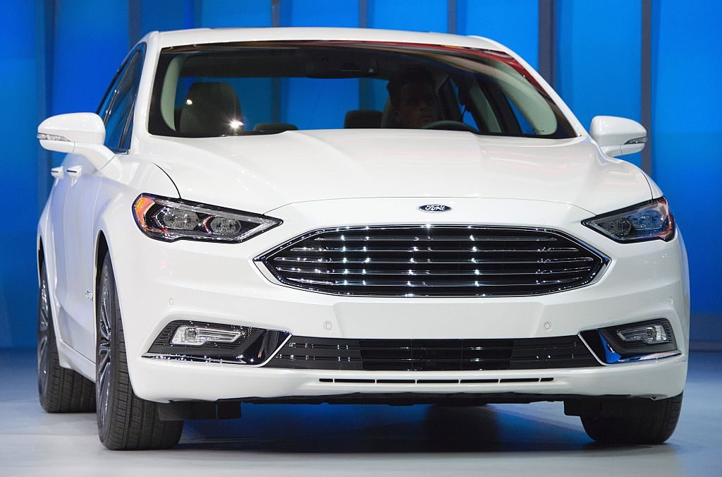 The Ford Fusion Hybrid is unveiled during the Ford press conference at the North American International Auto Show