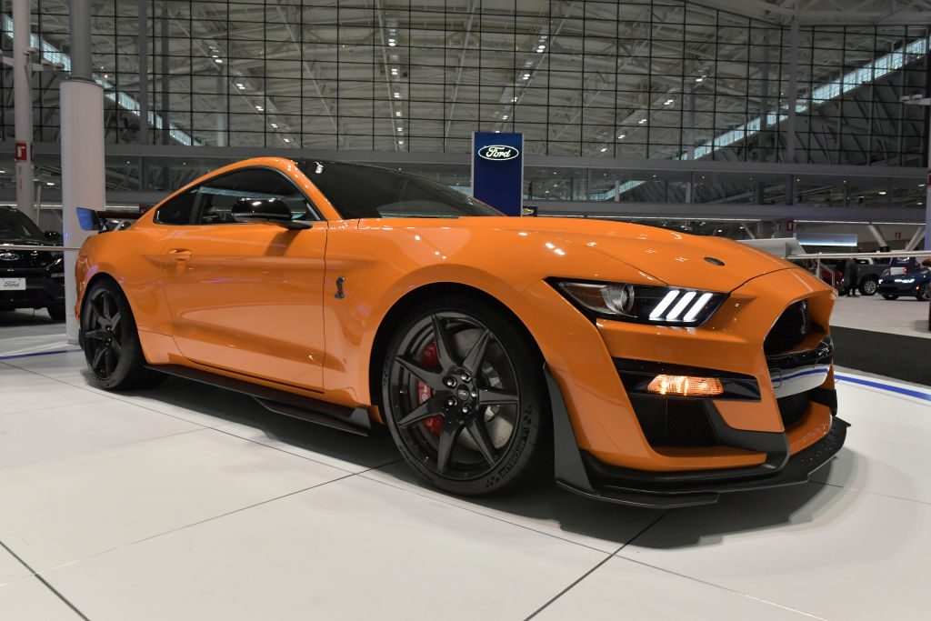 A 700hp Ford Mustang Shelby GT 500 is seen at the 2020 New England Auto Show Press Preview