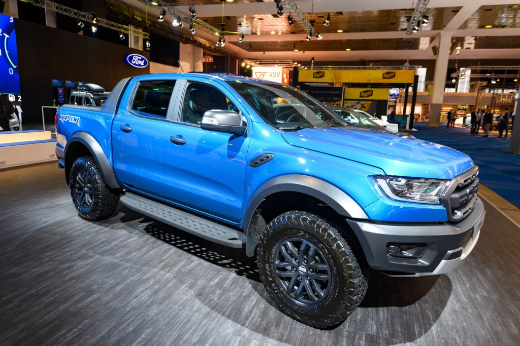 Ford Ranger Raptor performance pick-up truck on display at Brussels Expo