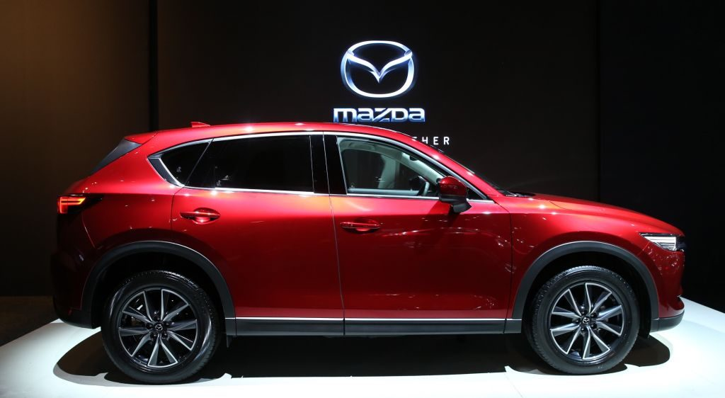 A Mazda CX-5 is being displayed during the 96th Brussels Motor Show at Brussels Expo Center in Brussels, Belgium on January 10, 2018.