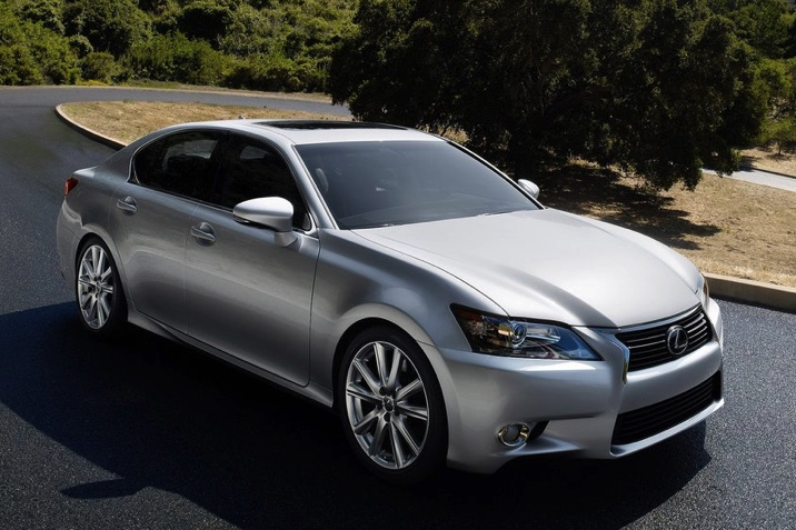 silver 2013 Lexus GS model driving