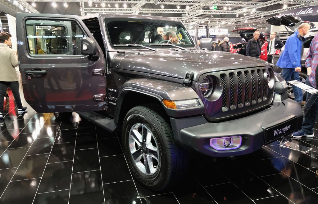 A Jeep Wrangler is displayed during the Vienna Autoshow, as part of Vienna Holiday Fair