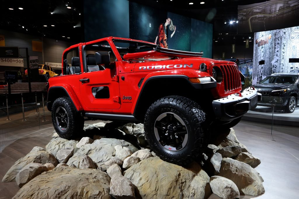 2018 Jeep Wrangler Rubicon is on display in 'Camp Jeep' at the 110th Annual Chicago Auto Show