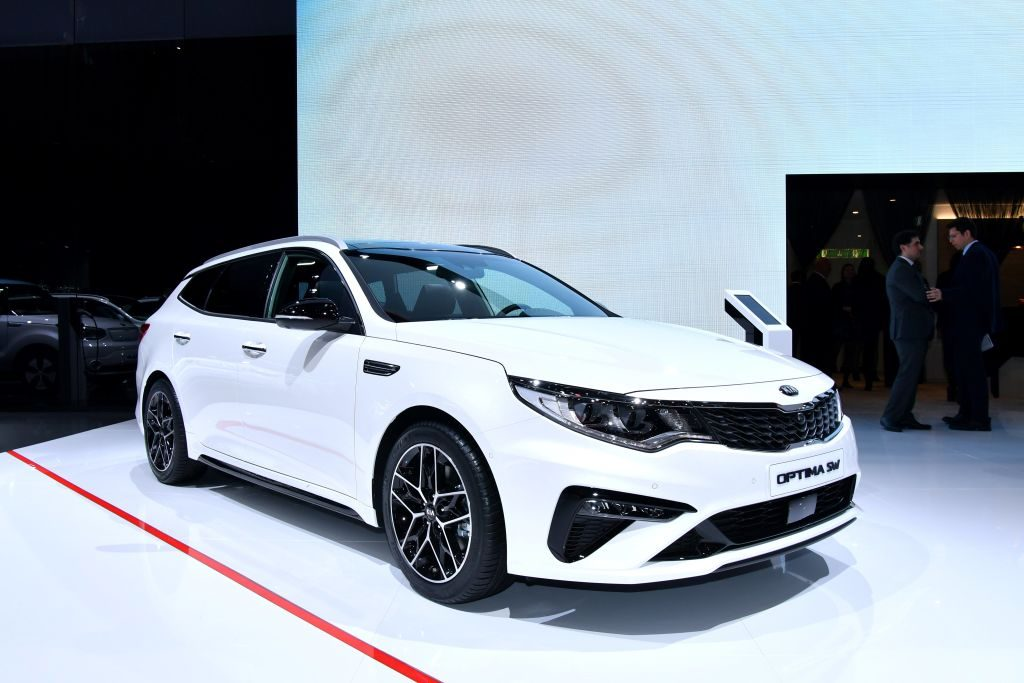The Kia Optima SW is displayed at the South Korean car maker's booth during a press day ahead of the Geneva International Motor Show