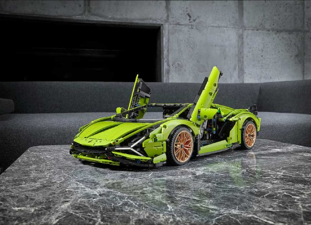 Green Lego Lamborghini Sian kit with gold wheels and open scissor doors