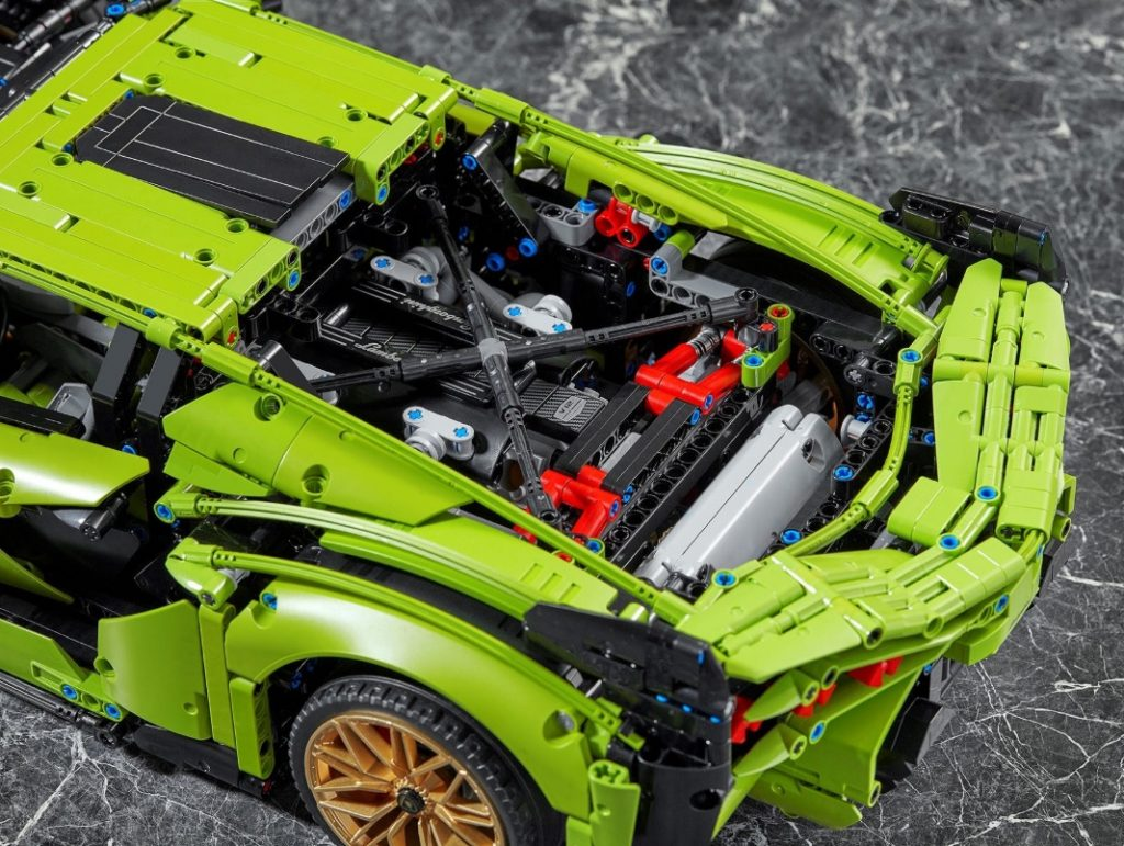 Green Lego Lamborghini Sian kit engine bay, showing V12 replica and strut-tower braces