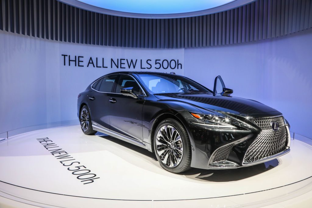 The Lexus LS500h on display during the second press day of the Geneva Motor Show