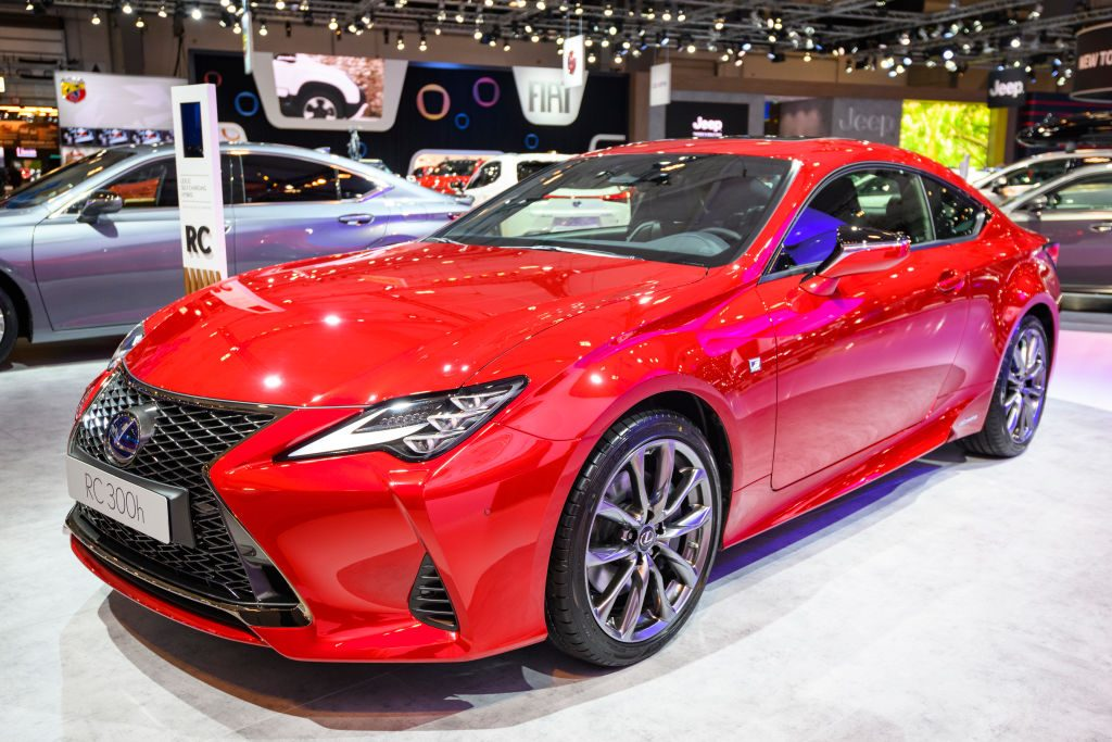 Lexus RC 300h coupe on display at Brussels Expo