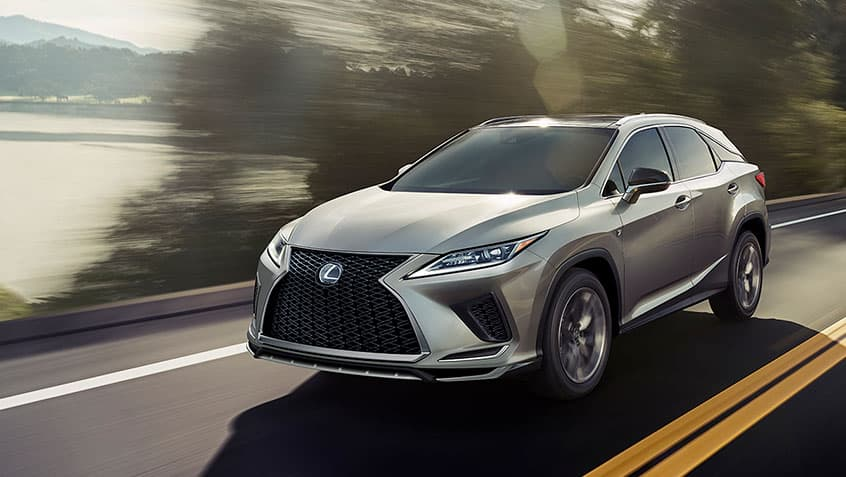 2020 Lexus RX 350 at speed on the road depicts a major player in terms of Lexus luxury vehicles.