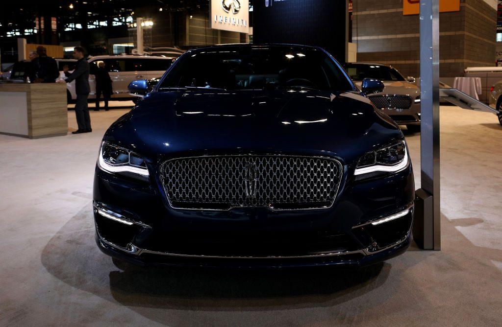 A new Lincoln MKZ on display at an auto show