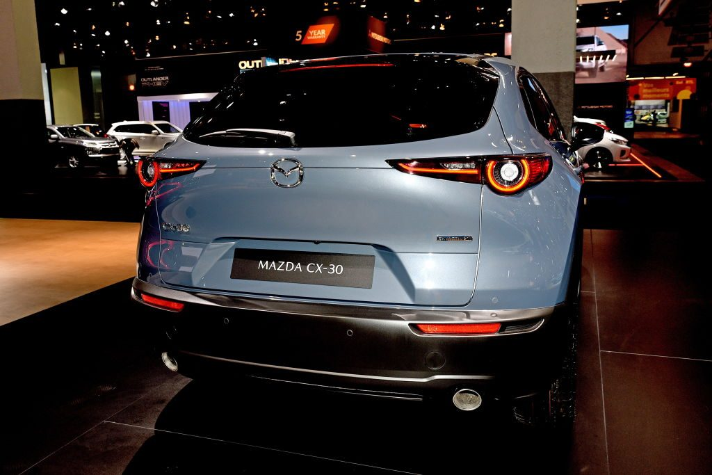 The Mazda CX-30 on display at the Brussels Motor Show