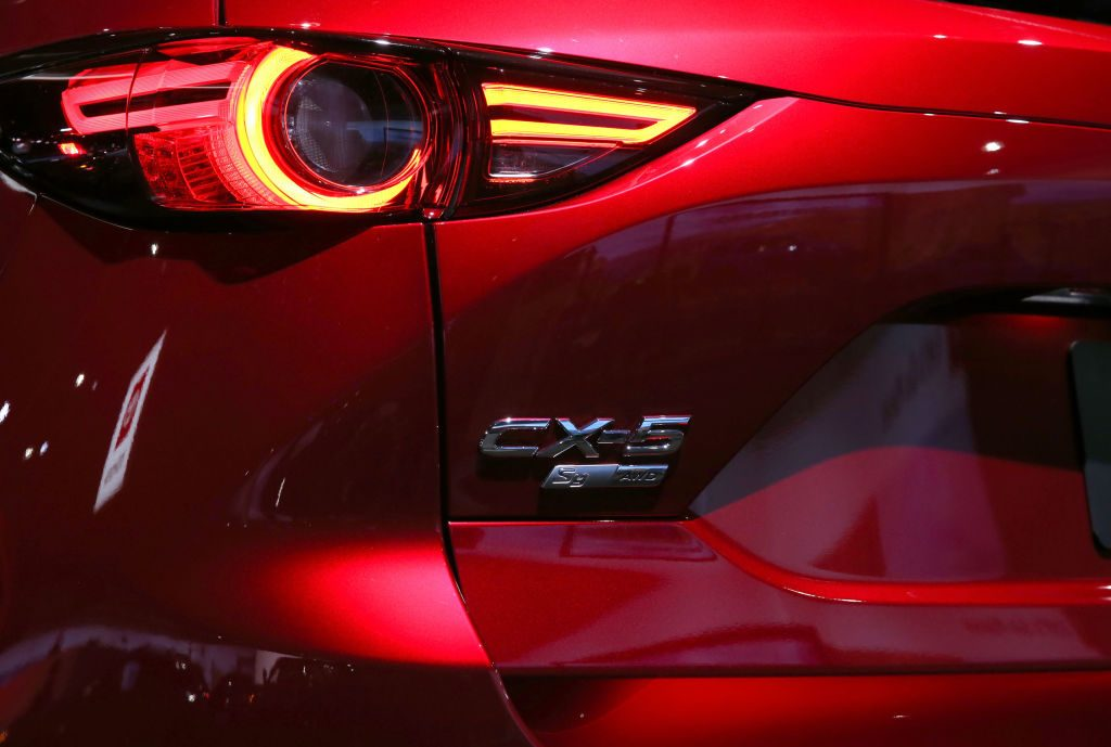 A detailed view of the Mazda CX-5 during the L.A. Auto Show