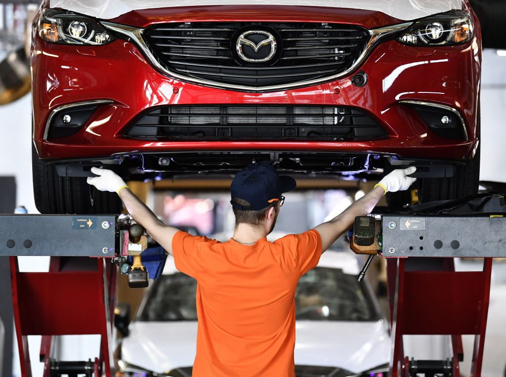 A Mazda6 car being assembled at the Mazda Sollers Manufacturing Rus factory