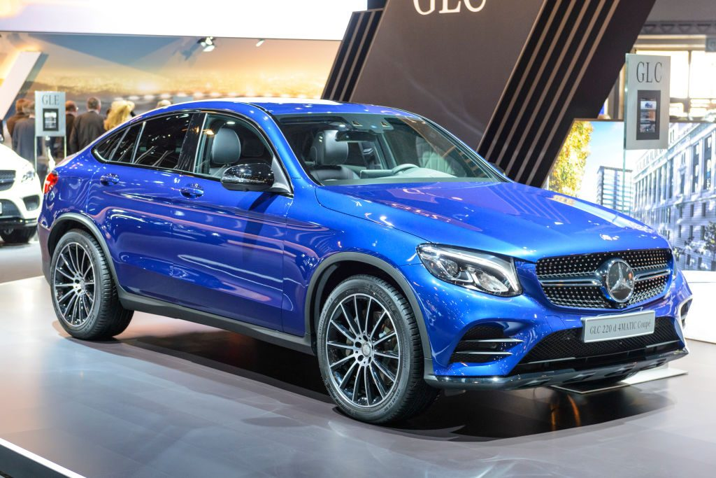 Mercedes-Benz GLC-Class GLC 220 d 4MATIC Coupe crossover luxury SUV on display at Brussels Expo