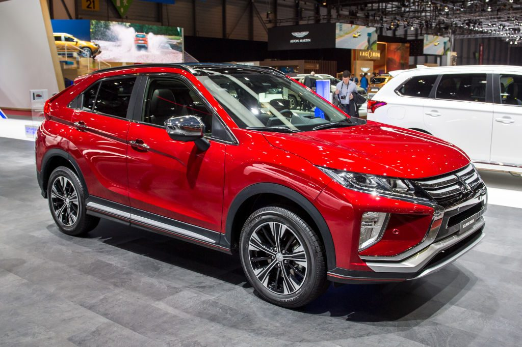 A Mitsubishi Eclipse Cross on display at an auto show