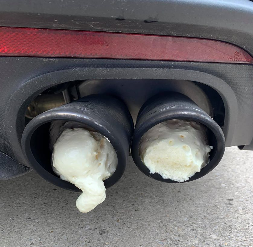 Mustang exhaust pipes with expandable foam showing