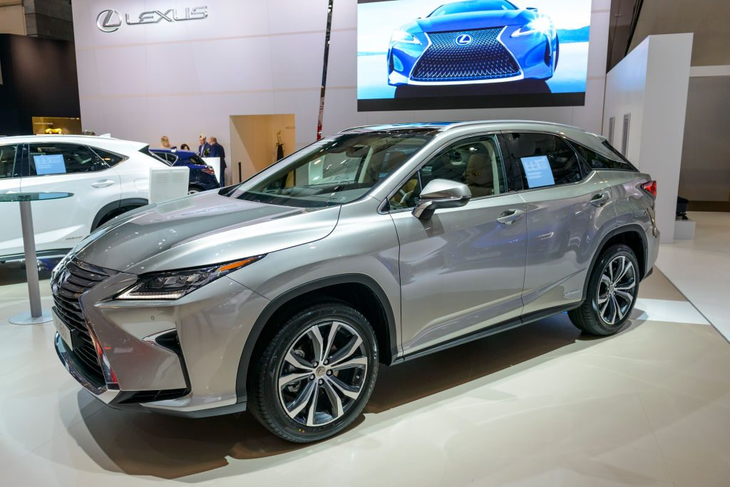 A Lexus RX hybrid on display