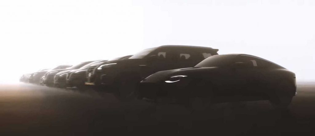 shadowy images of multiple future Nissan vehicles