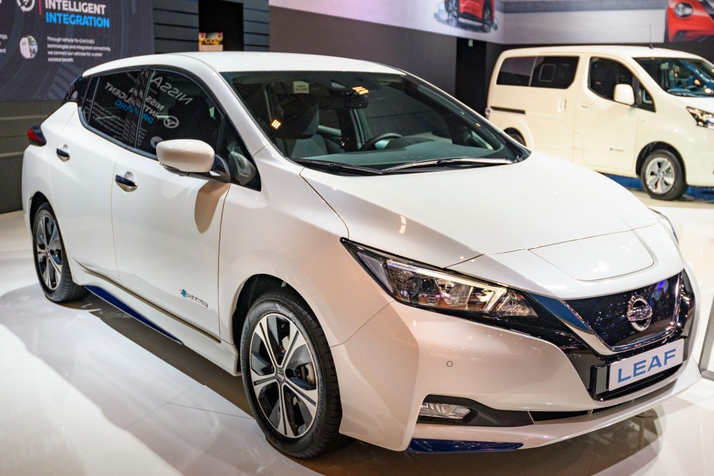 Nissan Leaf compact five-door hatchback battery electric vehicle on display at Brussels Expo
