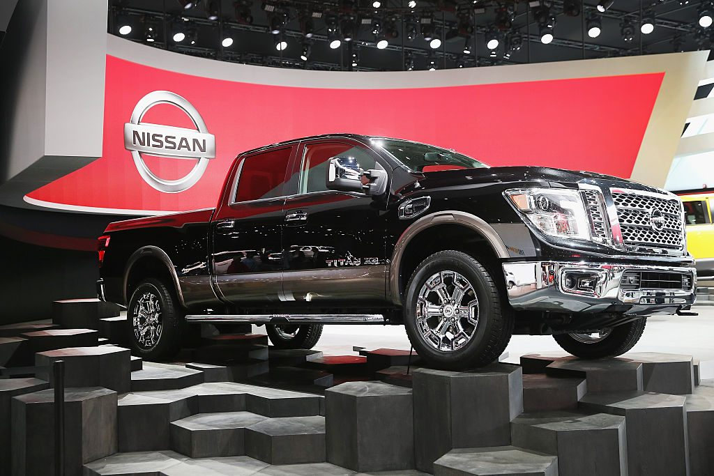 Nissan shows off the new Titan XD pickup during the media preview at the North American International Auto Show