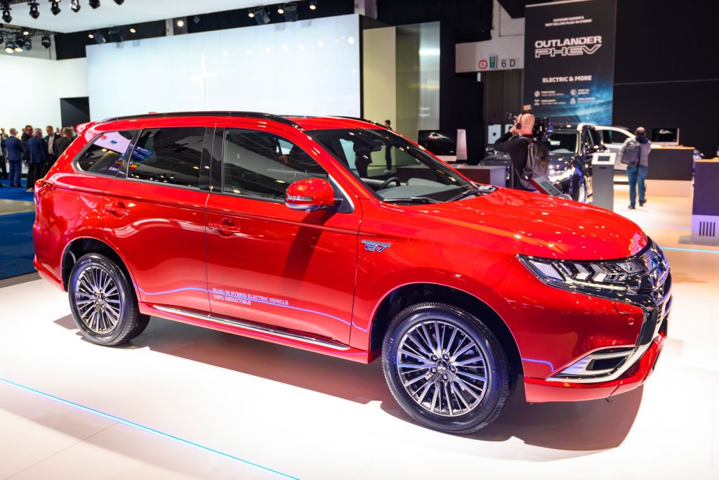Mitsubishi Outlander PHEV crossover plug-in hybrid SUV on display at Brussels Expo