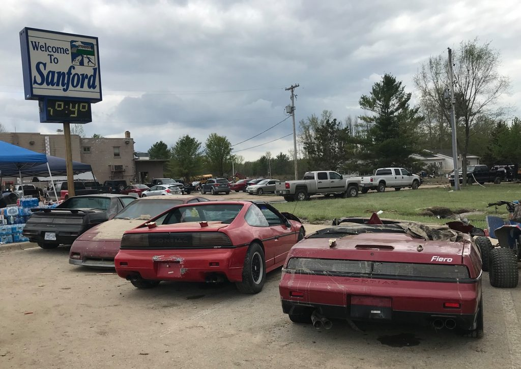 Pontiac Fiero cars and parts salvaged from Michigan flood