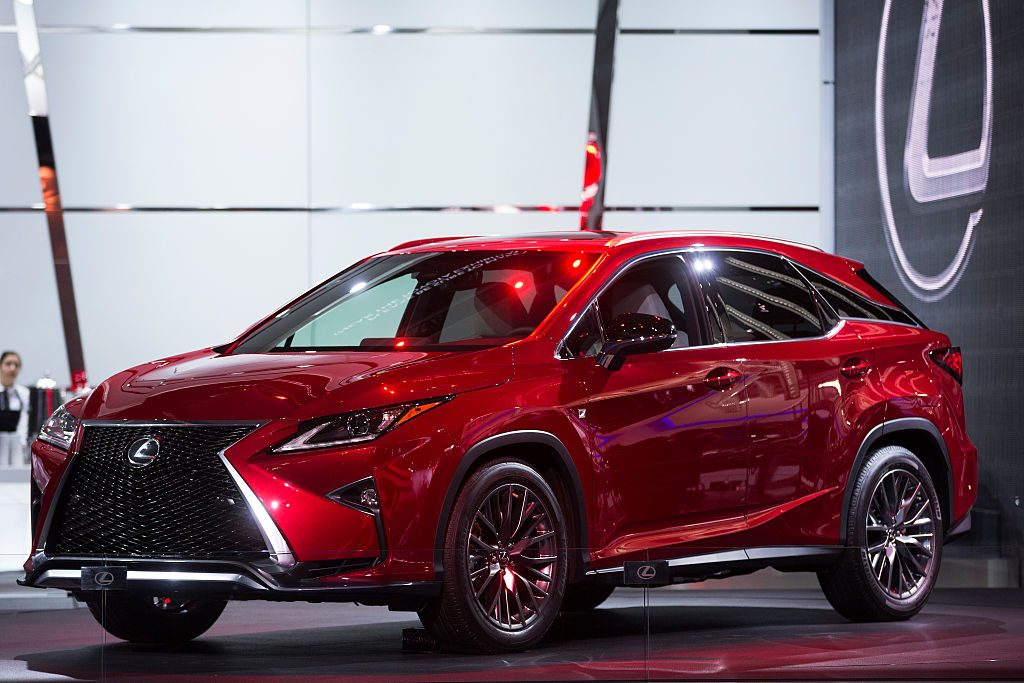 A Lexus RX350 on display at an auto show