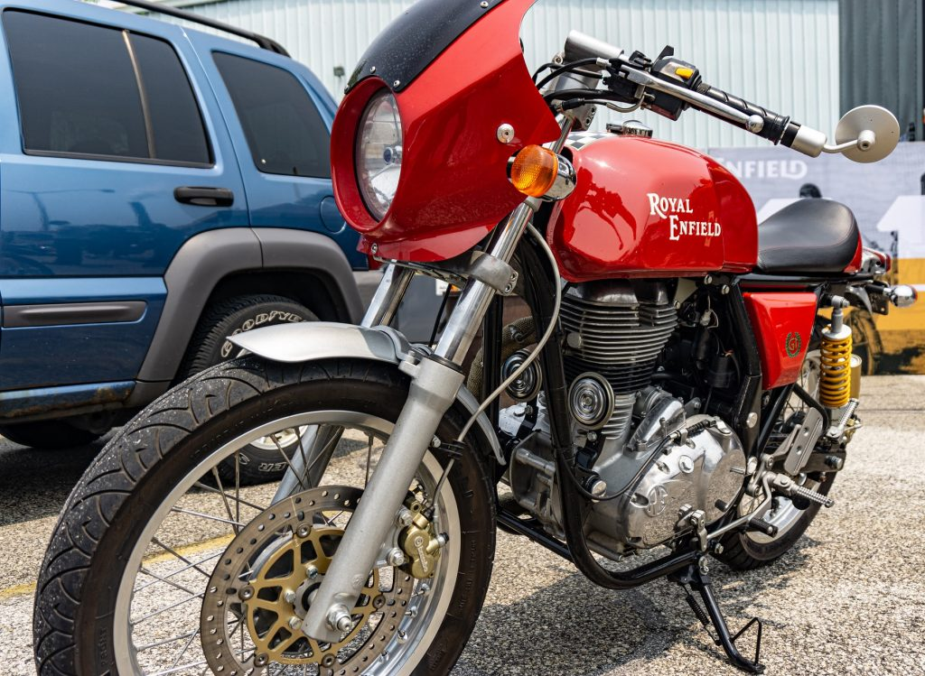 A red customized Royal Enfield Continental GT 535