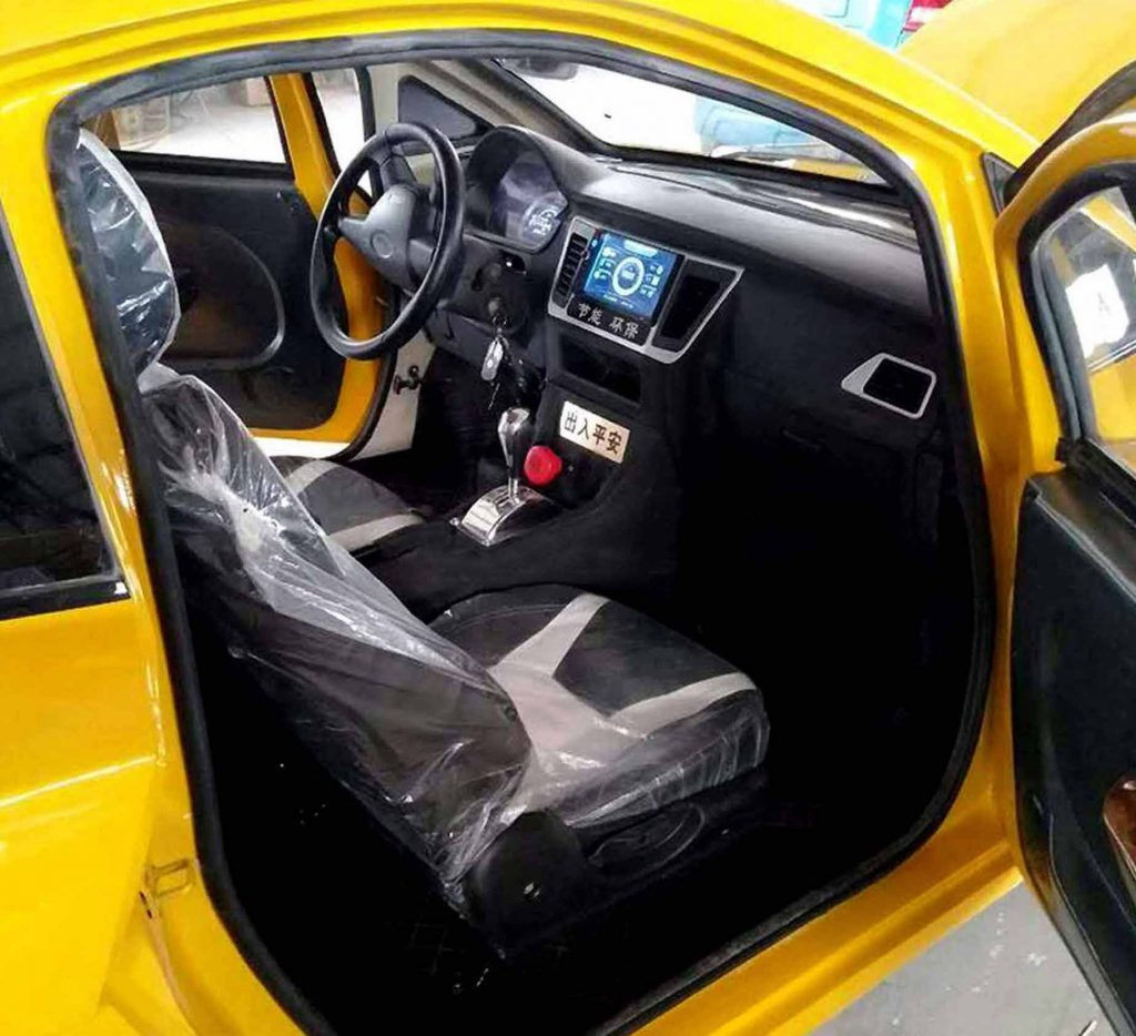 Interior of yellow Bugatti clone in China
