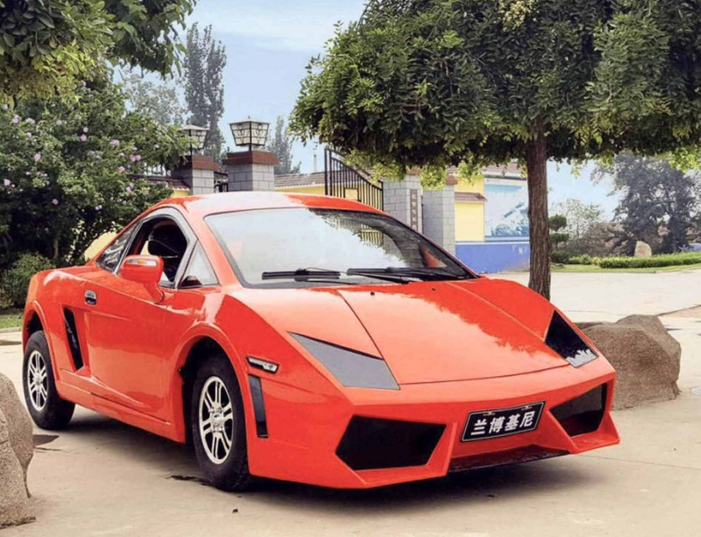 Shandong Fengde-Murcielago in red parked in front of house