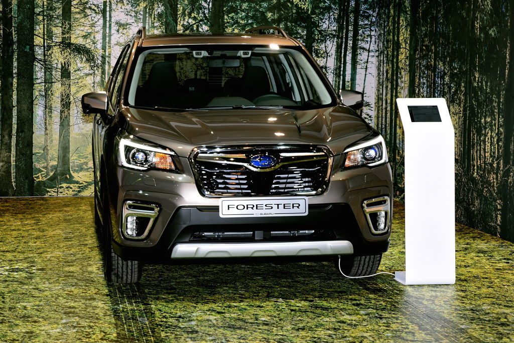 The Subaru Forester on display at the Brussels Motor Show