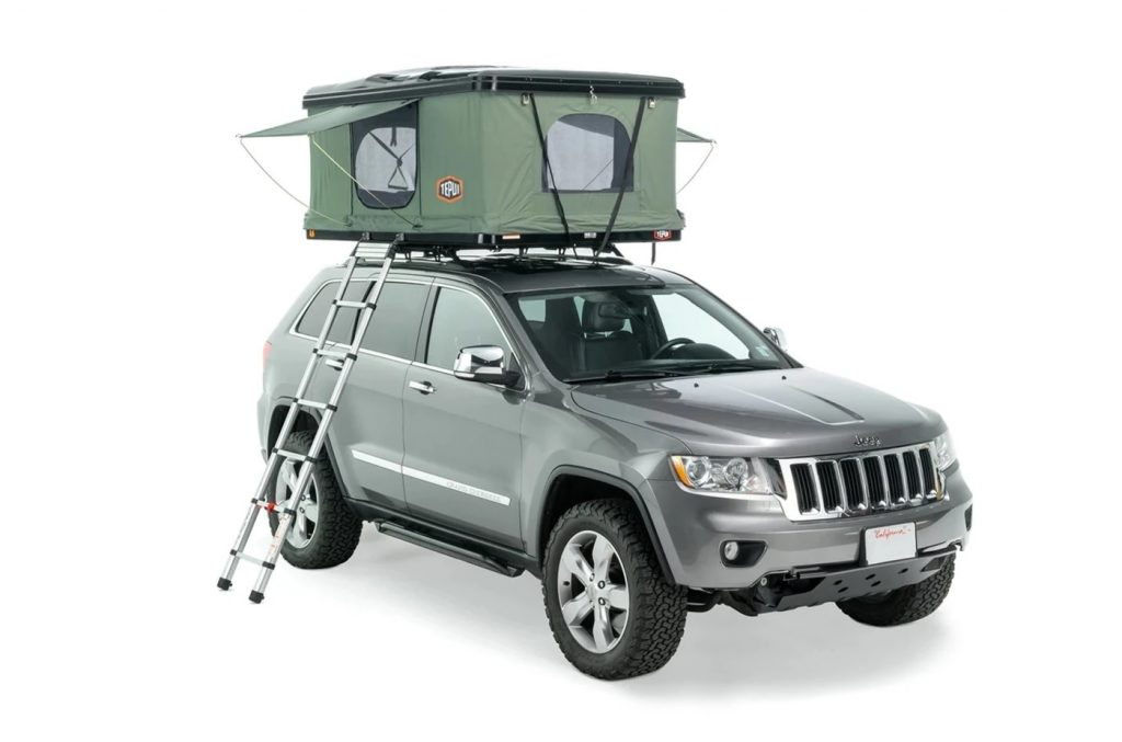 Green Tepui HyBox tent mounted on gray Jeep Grand Cherokee