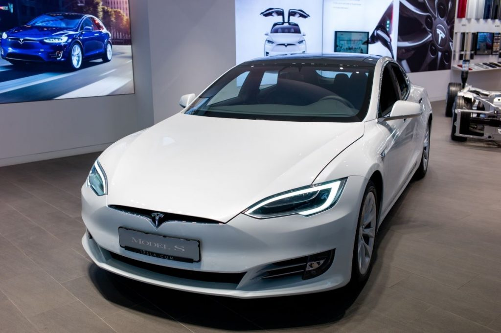 Front view of a white electric Tesla Model S