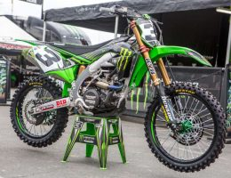 Eli Tomac's green dirt bike on the stand