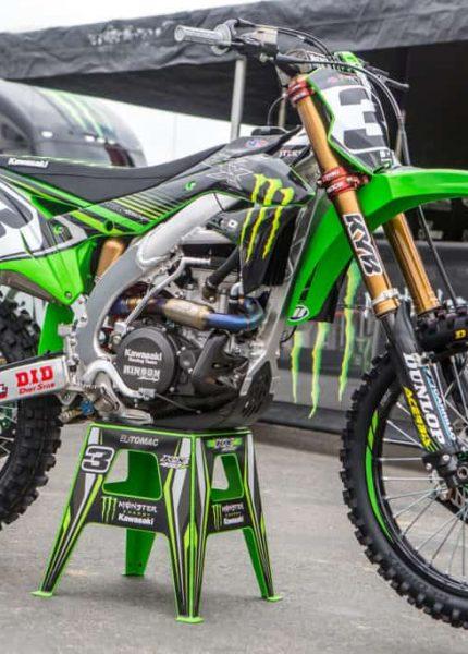 Eli Tomac's green dirt bike on the stand