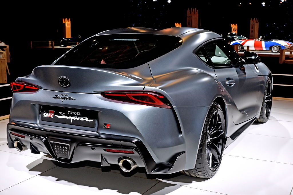 The Toyota Supra is on display at the Dream Car exposition, which is part of the Brussels Motor Show