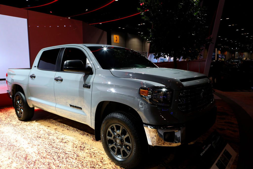 A 2020 Toyota Tundra on display at an auto show
