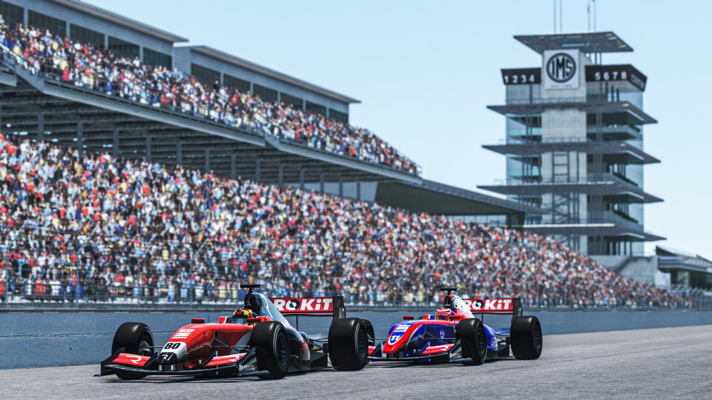 Indy cars racing nose to tail at the Indianapolis Motor Speedway