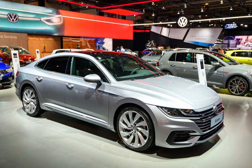 A Volkswagen Arteon on display at an auto show