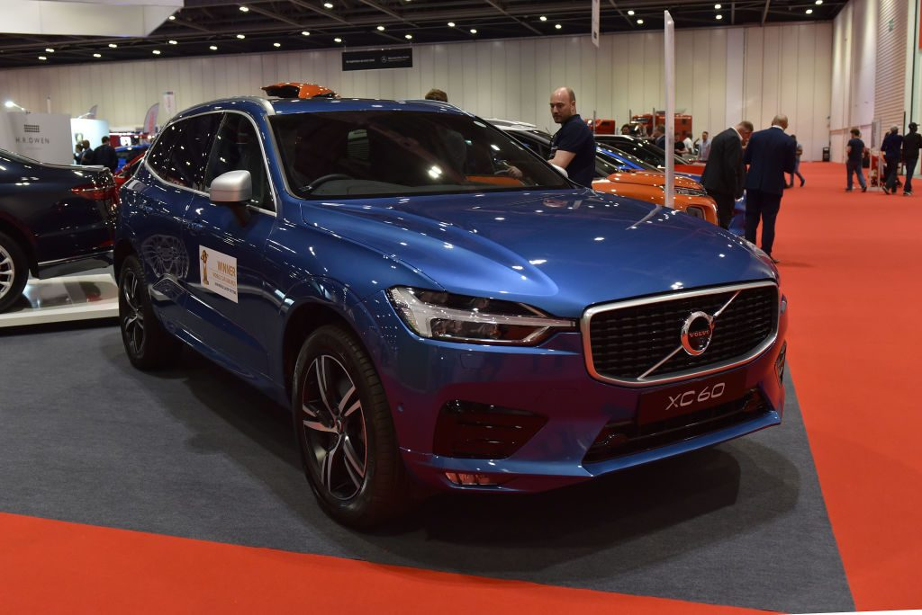 A Volvo XC60 is displayed during the London Motor Show