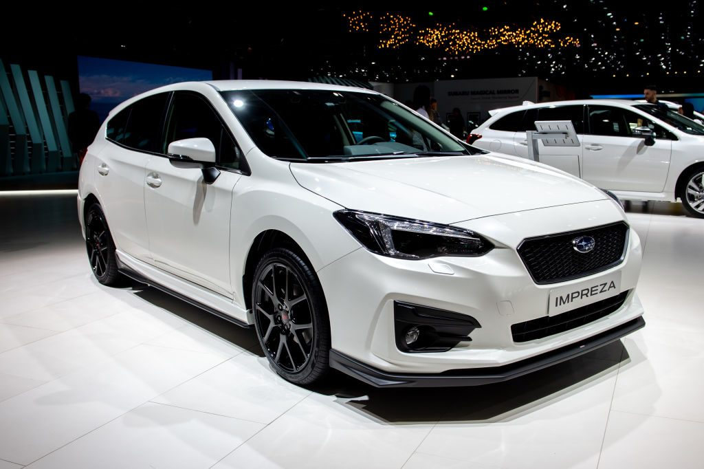 Subaru Impreza is displayed during the second press day at the 89th Geneva International Motor Show