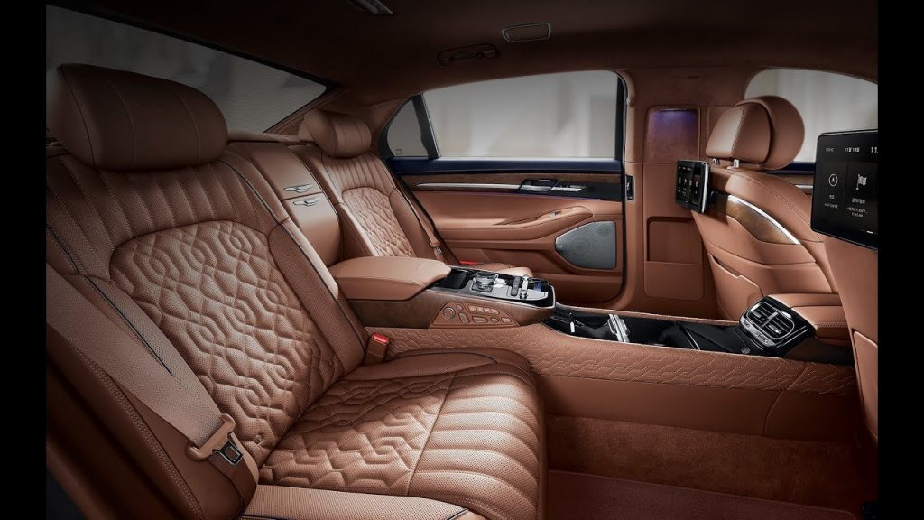 The 2020 G90's Nappa leather upholstery in a toasted brown color