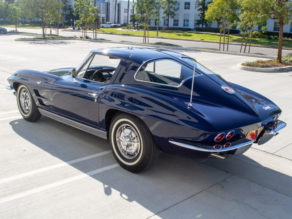 The rear of a Daytona Blue 1963 Corvette Sting Ray