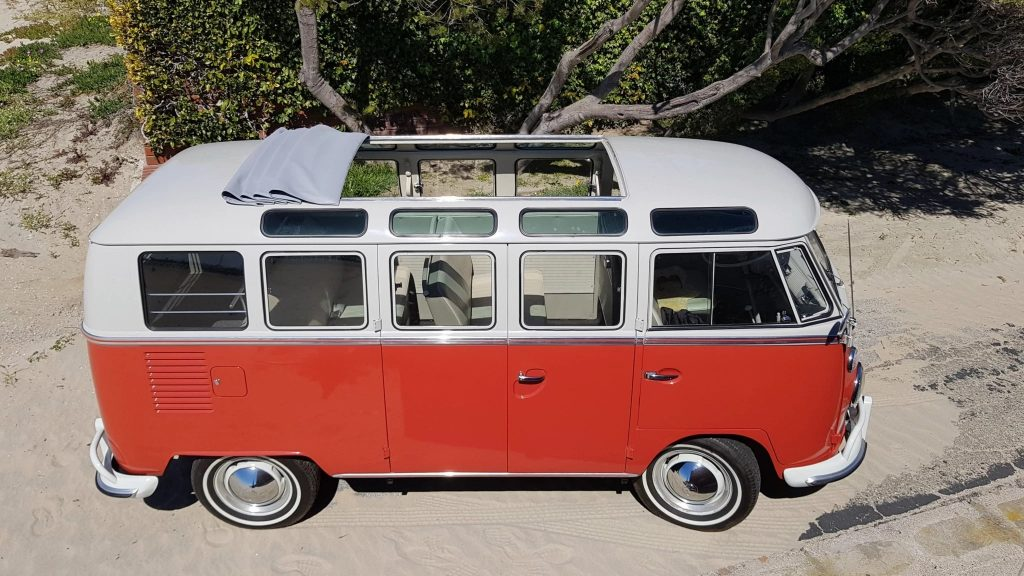 Overhead shot of a restored 1964 Volkswagen 21-Window Type 2 Bus with the sunroof open