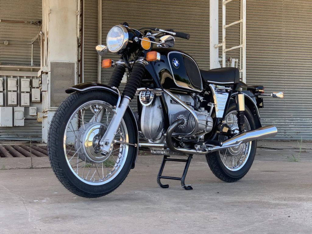 Black 1975 BMW R75/5 motorcycle on its center stand