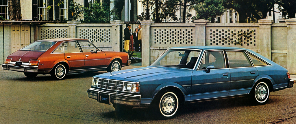 1978 Buick Century Aeroback sedans in red and blue