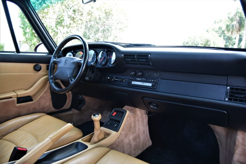 1997 993 Porsche 911 Carrera interior, with tan seats and black dashboard
