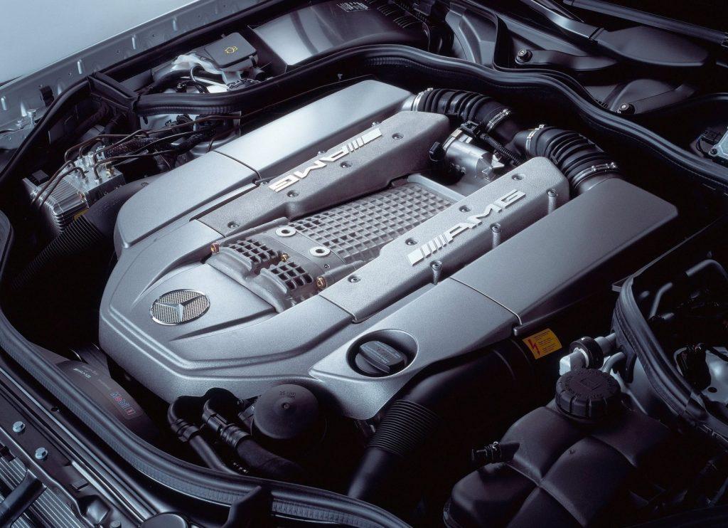 2003 Mercedes E55 AMG engine bay, showing the supercharged 5.4-liter V8