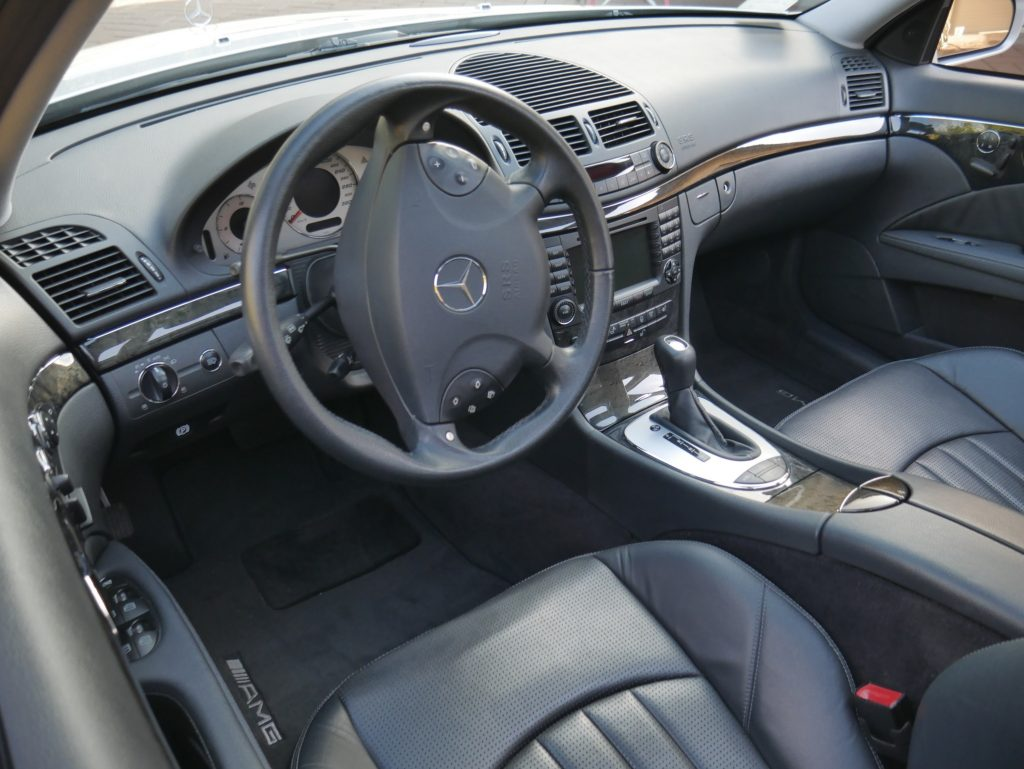 2004 Mercedes E55 AMG leather interior, showing seats and center console